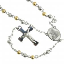 Two-ToneStainless Steel Rosary with with Jesus on the Cross and a Praying Virgin Mary Centerpiece