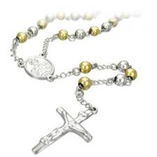 Stainless Steel Rosary with Gold PVD Beads