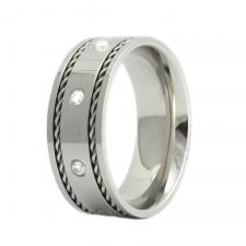 Stainless Steel Ring with Stones Between Two Cables