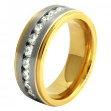Stainless Steel Gold PVD Ring with CZ Center