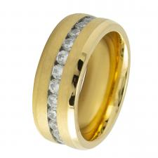 Stainless Steel Gold PVD with CZ