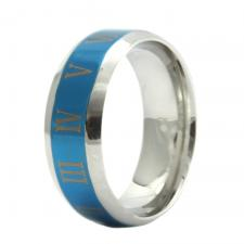 Stainless Steel Blue PVD Ring with Roman Numerals