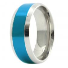 Stainless Steel Ring with Blue PVD
