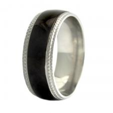 Stainless Steel Black PVD Ring with Textured Edges