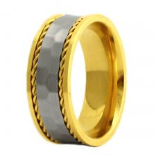 Gold PVD Stainless Steel Ring with Hammered Band Between Gold Cables