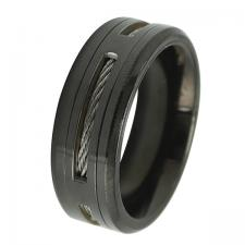 Men's Black PVD Stainless Steel Ring with Cable Wire Design