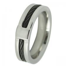 Stainless Steel Ring with Cable Wire