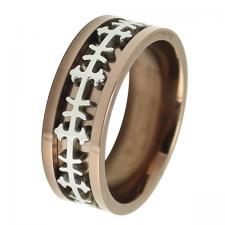 Men's Stainless Steel Copper PVD Biker Ring