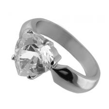 Stainless Steel Ring with Clear Heart Shape CZ