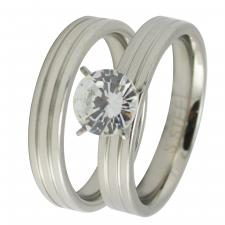 Stainless Steel Wedding Bands with CZ Stone