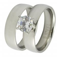 Stainless Steel Solid Wedding Bands with CZ Stone