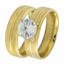 Stainless Steel Gold PVD Wedding Bands with CZ Stone