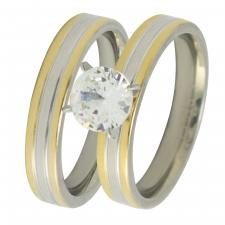 Stainless Steel Two Tone Wedding Bands with CZ Stone
