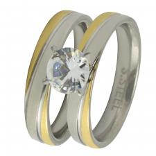 Stainless Steel Two Tone Design Wedding Bands with CZ Stone