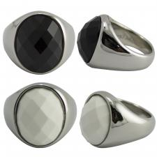 Bulky Stainless Steel Stone Ring