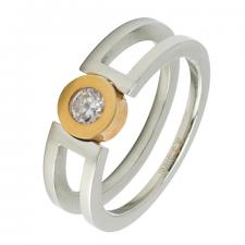 Stainless Steel and Gold PVD Ring with CZ Stone