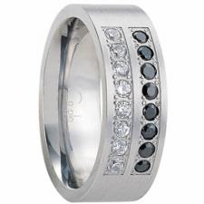 Men's Gorgeous Stainless Stee Ring with White and Black Cubic Zirconias