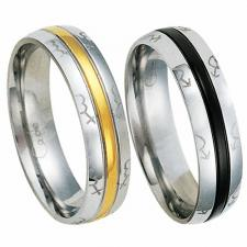 Stainless Steel with Gold or Black PVD Ring with Female and Male Symbols