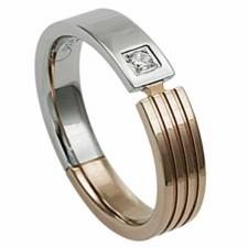 Gorgeous Stainless Steel Ring With Rose Gold PVD and Stone Encrusted On It