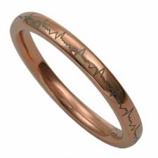 Rose Gold PVD Stainless Steel Ring With Gray Laser Design Around The Ring
