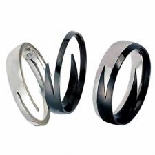 Stainless Steel Ring - Black Lightning Band