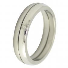 Gorgeous Stainless Steel with .5 Points of a Carat of White Brilliant Diamond Ring