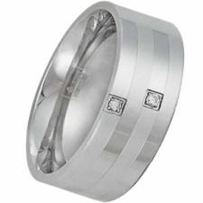 Gorgeous Stainless Steel Ring with 2 Points Carat Diamond - Very Elegant