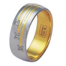Stainless Steel/ Gold Ring with 3 Diamonds
