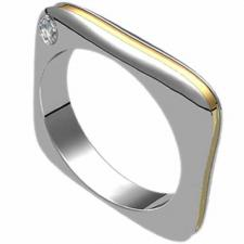 Stainless Steel Ring with 18K Gold Stripe and Diamond - Square Design