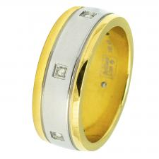 Stainless Steel Ring with 18K Gold Coating and Diamonds