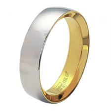 stainless steel and gold ring