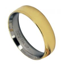 Stainless Steel Ring with 18K Gold Coating - 6mm Width