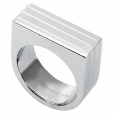 Charming Stainless Steel Ring With Flat Top And 3 Lines Running Around The Entire Ring--Certain Lady Collection