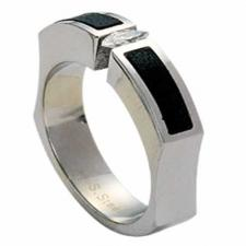 Stainless Steel Leather Jeweled Ring