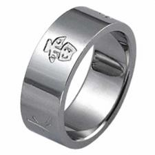 Stainless Steel Ring  With The Five Elements; THUNDER, WIND, EARTH, WATER, AND FIRE Engraved On It