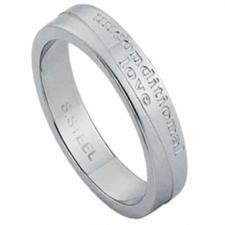 Stainless Steel Ring With Unconditional Love Inscription