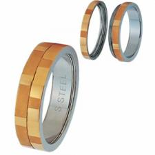 2 Part Screw Stainless Steel Gold PVD Ring