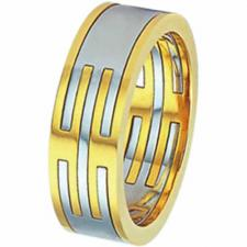 Stainless Steel ring w/ PVD gold - 3 parts