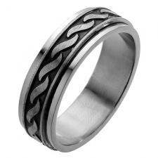Spinner Ring with Rope Pattern Design Engraved