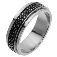 Spinner Ring with Spiga/Wheat Pattern in Stainless Steel