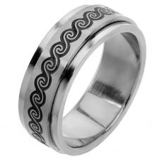Stainless Steel Spinner Ring with Wavy Design