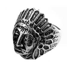 Stainless Steel Urban Biker Ring with Indian Image