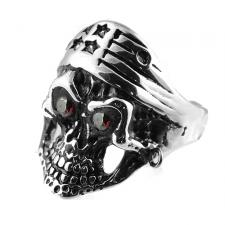 Stainless Steel Skull Ring with Stars Bandana and Red Eyes