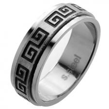 Greek Pattern Spinner Ring in Stainless Steel