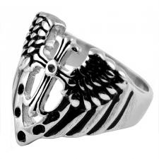 Stainless Steel Ring With Cross And Wings