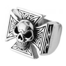 Stainless Steel Ring with Skull and Maltese Cross
