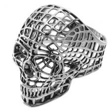 Stainless Steel Skull Ring in Webbing Design