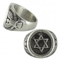 Stainless Steel Star of David with Bird Design Ring
