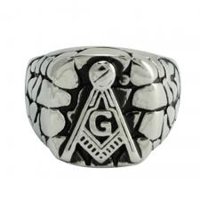Stainless Steel Textured Masonic Ring