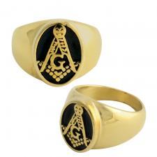 Stainless Steel Gold PVD Masonic Ring